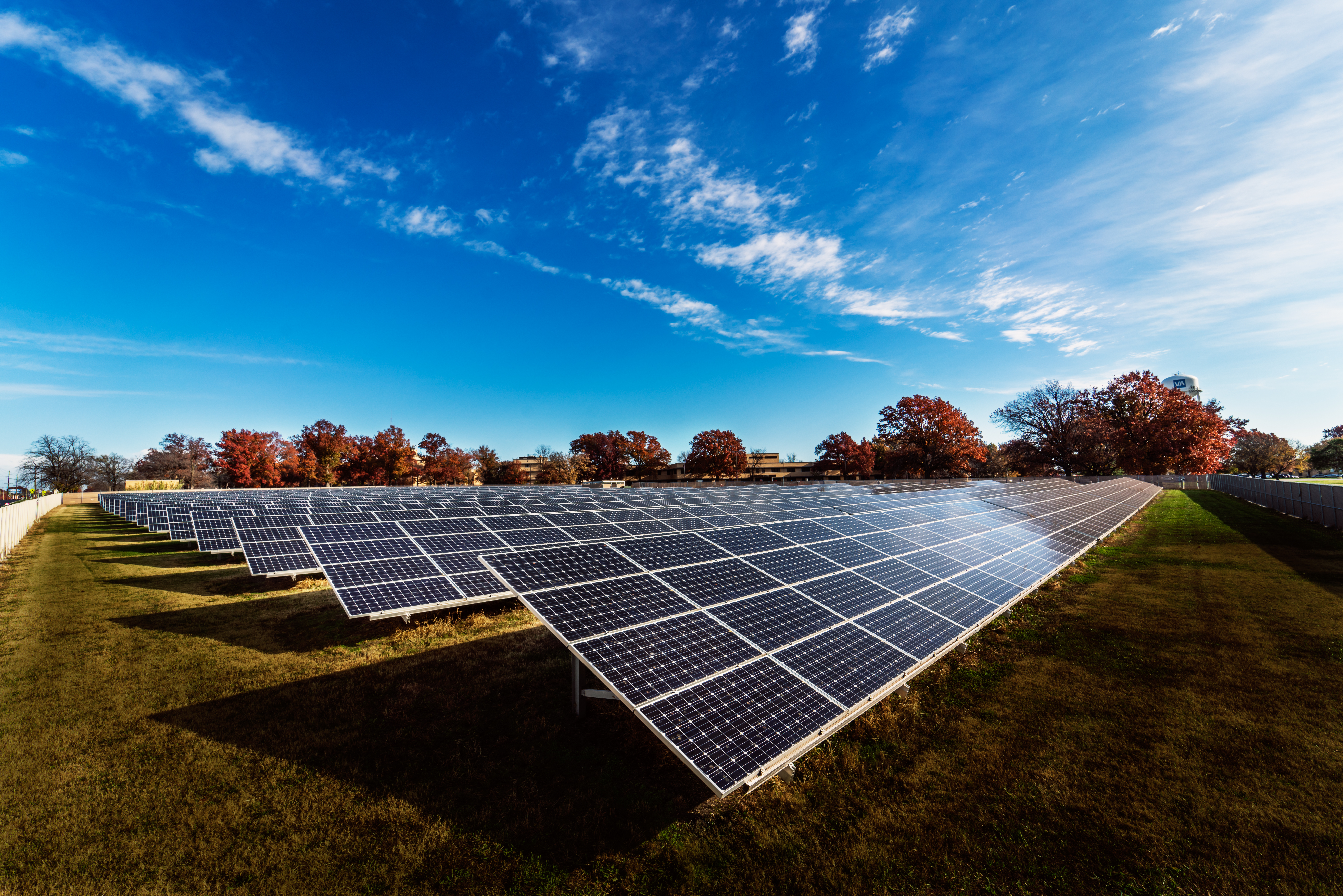 Photo of Topeka VA solar panels that Torgeson Electric helped set up.